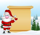 Funny santa claus with blank sign — Stock Vector