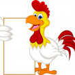 Happy cartoon chicken holding blank sign — Stock Vector #40707449