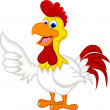 Happy cartoon chicken holding blank sign — Stock Vector #40707481