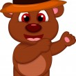 Cute brown bear cartoon with hat posing — Stock Vector #40707675