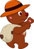 Cute brown bear cartoon with hat walking — Stock Vector