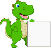 Happy Crocodile Cartoon With Blank Sign — Stock Vector