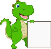Happy Crocodile Cartoon With Blank Sign — 图库矢量图片