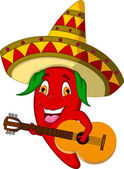 Red Chili Pepper Cartoon Character With Mexican Hat And Mustache Playing A Guitar — Stock Vector