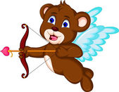 Teddy bear ready to shoot his arrow — Stockvector