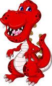 Red dinosaur cartoon — Stock Vector