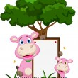 Cute hippo cartoon with blank sign in garden — Stock Vector