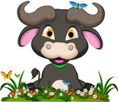 Buffalo cartoon sitting on flowers garden — Stock Vector