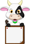 Cute cow cartoon with blank board — Stock Vector