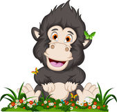 Gorilla cartoon sitting on flowers garden — Stock Vector