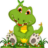 Cute crocodile cartoon sitting in flower garden — Stock Vector