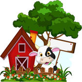 Cow with blank sign in garden — Stock Vector