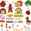 Illustration of the things and animals at the farm — Stock Vector #46608283