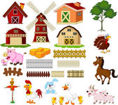 Illustration of the things and animals at the farm — Stock Vector