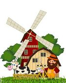 Illustration of farmer and cow at the farm — Stock Vector