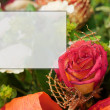 Roses and empty  card with space for your own text — Stock Photo