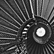 Stock Photo: Spiraling stairs, black and white