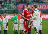 WROCLAW, POLAND - April 10: Match Puchar Polski between Wks Slask Wroclaw and Wisla Krakow — Stock Photo