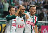 WROCLAW, POLAND - July 18:UEFA Europa League, Paixao after score a goal, Slask Wroclaw vs Rudar Pljevlja on July 18:, 2013 in Wroclaw, Poland. — Stock Photo