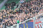 WROCLAW, POLAND - April 06: Naked supportes of Gornik Zabrze, Slask Wroclaw vs Gornik Zabrze on April 06, 2013 in Wroclaw, Poland. — Foto de Stock