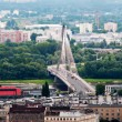 Panorama of Warsaw city with modern bridge — Stock Photo