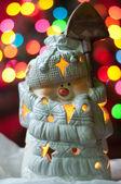 Snoman on the christmass tree bokeh lights — Stock Photo