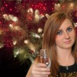 Celebrating Young Woman With Glass of Champagne — Stock Photo