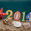 Stock Photo: New year 2014 letters with starfish and shells