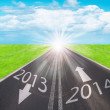 Stock Photo: Road to new year 2014