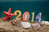 New year 2014 letters with starfish and shells — Stock Photo