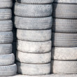 Background with old tires on each other — Stock Photo