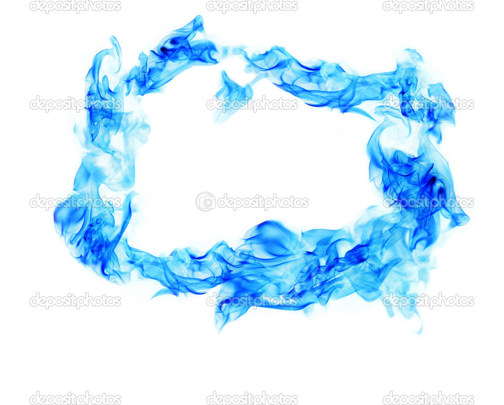 Blue Fire smoke frame on white background — Stock Photo ...