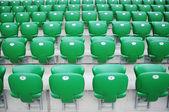 Rows of sport stadium empty seats — Stock Photo