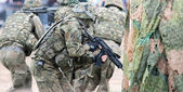 Wroclaw, Poland - May 10. 2014 Soldier on Military show on May 10, 2014 in Worclaw, Poland — Stock Photo