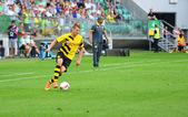 Wroclaw. POLAND - August 06: Match friendly between Wks Slask Wroclaw and Borussia Dortmund. Lukasz Piszczek on August 06, 2014 in Wroclaw. Poland. — Stock Photo