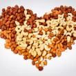 Heart from nuts — Stock Photo