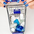 Foto Stock: Trolley with cosmetics