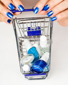 Trolley with cosmetics — Stock Photo