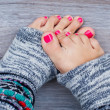 Pink pedicure - Foto Stock