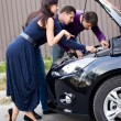 Stock Photo: Womand Broken car