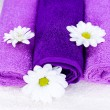 Flowers on a towel — Stock Photo