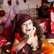 Happy christmas flicka — Stockfoto