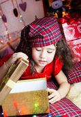 Girl with cristmas gift — Stock Photo
