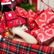 Sleep among the presents — Stock Photo