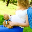 Stock Photo: Pregnant girl with toy