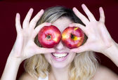 Girl with apple look — Stock Photo