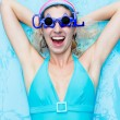Girl in blue swimsuit — Stock fotografie