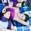 At the park with friends — Stock Photo