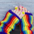 Colorful female pedicure - Stock Photo