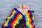 Colorful female pedicure — Stock Photo
